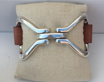 LARGE two-sided leather SNAFFLE BIT cuff bracelet | cognac leather | snaffle bit cuff | cuff bracelet | leather bracelet