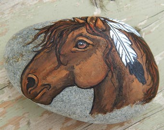 Native MUSTANG Hand Painted Rocks Paint Horse Rock Art Spirit Guides Lotus and Nightshade Horses with Feathers Animal Totem Stone