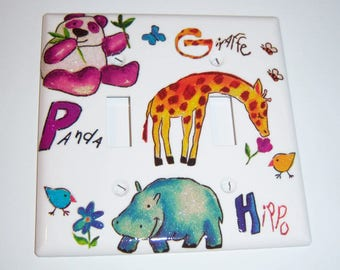 Panda, Giraffe, and Hippo Double Light Switch Cover, Glittery, Birds, Flowers, Baby Gift, Nursery