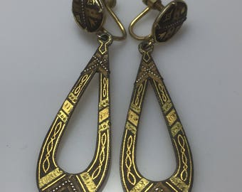 Antique to vintage true damascene drop earrings with screw back - early 20c