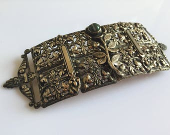 Large antique filigree silver metal buckle with banded agate rose decoration c. 1900s