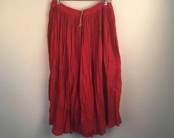 Red Cotton Gauze Skirt 90s boho ethnic long crinkled solid color cotton skirt free size M drawstring waist