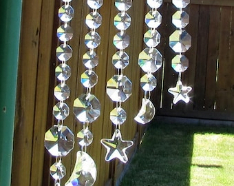 Star, Moon, Crystal Prism Suncatcher, 5S-3
