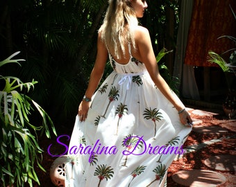 Cotton Nightgown Summer Grecian Cotton Lingerie Palm Tree Nightgown Bridal Nightgown Wedding Lingerie Cotton Sleepwear Honeymoon Nightgown