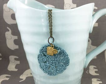 Teal Crocheted Doily Necklace with Brass Teabag Charm - John Watson Never Makes Tea Necklace // Sherlock Jewelry // Charm Necklace