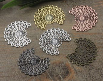 Wholesale 50 Brass Filigree Fanned Tail Component 38x33mm Raw Brass/ Antique Bronze/ Silver/ Gold/ Rose Gold/ White Gold/ Gun-Metal - Z7853