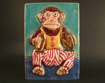 Ceramic Art Tile, Retro MONKEY PLAYING CYMBALS Wind-Up Toy, 4 x 6 Handmade Tile, Wall Art