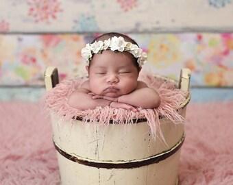 Ivory White Flower Newborn Crown - Off White Baby Flower Crown - Floral Crown - Soft Headband - Baptism