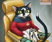 "SALE Star Trek Cat - 8 x 8"" art print - kitty dressed up as starfleet captain Picard on the bridge of the enterprise"