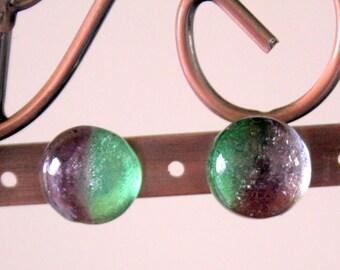 Aurora Borealis Dicroic Glass Button Stud Earrings