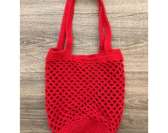 Crochet Market Bag | Red