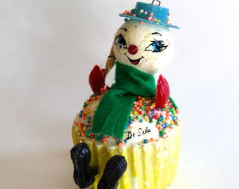 Vintage Snowman Cupcake Christmas Ornament Made in Mexico! Cute!