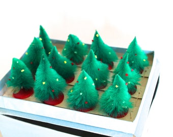 Vintage 1970's Christmas/Pine Tree Set of 12 - Original Packaging!
