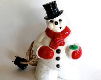 Vintage 1950's Christmas Snowman Plastic Lamp/Nightlight! Cool!