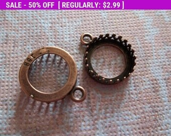 50% OFF Clearance SALE 12mm Round Crown Settings - Antiqued Copper Cabochon Mountings - Qty 4