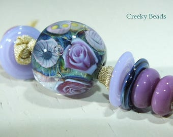 "Handmade Lampwork Focal bead - ""Lilac Rose""!' - Creeky Beads SRA"