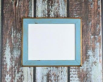 8.5 x 11 Wooden Picture Frame, Rustic Baby Blue Weathered Style With Routed Edges, Rustic Home Decor. Rustic Wood Frames, Rustic Frames