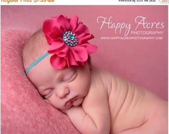 ON SALE Newborn headband, hot pink and turquoise headband, newborn photography prop, girl headband