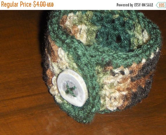 Mossy Forest.  Handmade Crocheted Coffee Cup Cozy with Deer Antler Button, Unisex gift for him or her under 5 dollars . stocking stuffer
