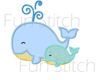 Two little whales applique machine embroidery design instant download