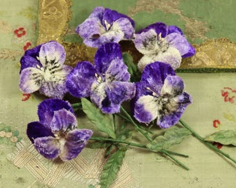Lot of 6 vintage millinery purple blue violet pansy velvet buds soft pastel shades  hat cloche bonnet celluloid hat trim millinery stamen