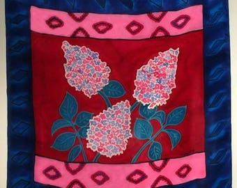 15 % off Vintage 80s MINT  Hand painted Silk Scarf by Artist N Daniel