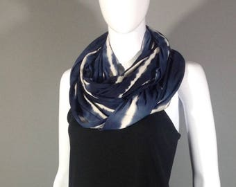 Blue and white stripe tie dye infinity scarf