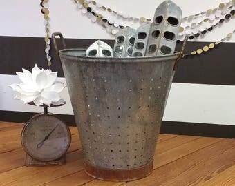 Farmhouse Decor Bucket; Galvanized Metal Bucket; Storage and Organization; Vintage; Magnolia House; Magnolia B&B; Joanna Gaines; Fixer Upper