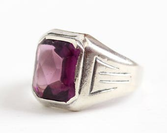 Ostby Barton Ring - Vintage Sterling Silver Simulated Amethyst - Size 9 1/4 Art Deco 1930s Men's Women's OB Purple Glass Stone Jewelry