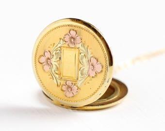 Vintage Locket Necklace - 12k Gold Filled Flower Round Pendant - 1940s Photograph Keepsake Signed Hayward Company Jewelry