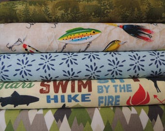 Camping, Fishing, Hiking Rag Quilt Kit, Easy to Make, Personalized, Sewing Available, Bin A