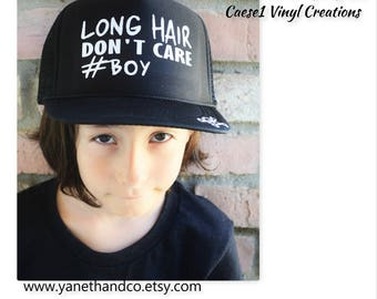 Long Hair Don't Care #BOY Trucker Hat,Long Hair Don't Care Trucker Hat,Crossbones Skull Hat,Long Hair Don't Care #BOY skull hat,Custom Hat