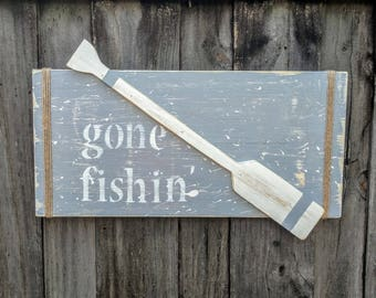 GONE FISHIN' Wooden Sign, Fishing Sign, Lake House Decor, Row Boat
