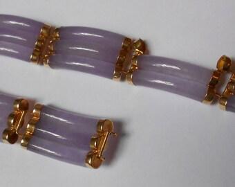 Vintage HONG KONG Designer created 14K Gold and Lavender Jade Modernist Bracelet-Needs to Be Repaired.