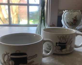 Set of 70's soup mugs