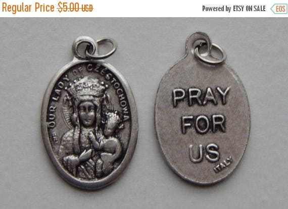 CLOSING SALE 5 Patron Saint Medal Findings - Our Lady of Czestochowa, Die Cast Silverplate, Silver Color, Oxidized Metal, Made in Italy, Cha