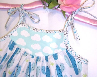 Little Girl's/Toddler Girl's/Baby Girl's Sundress with Blue Cactus on White with Floral Border and Star Shoulder Ties