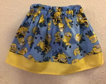 Minions skirt  (available in sizes  2t,3t,4t,5t,6,7,8