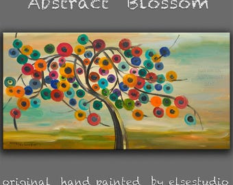"""Sale Huge original Acrylic Painting modern art Abstract Blossom Modern Impasto Texture canvas by Tim Lam 48"""" x 24"""""""