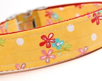 Handmade Dog Collar - Yellow Bouqet with Polka Dots - Custom Made Canary Dog Collar with white polka dots and red and blue flowers