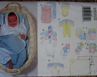 Easy Sew Infants Layette: Bunting, Gown, Jumpsuit, Kimono, Romper, Diaper Cover, Booties Butterick Pattern 3812 UNCUT