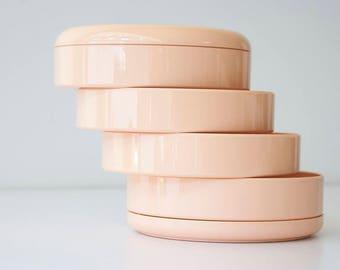 Vintage 1980s InterDesign Blush - Peach Plastic Swiveling Organizer