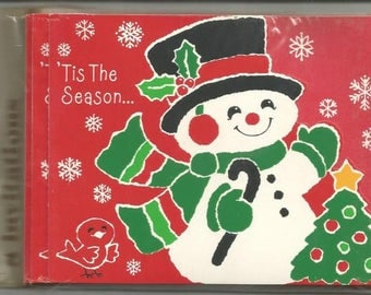 Vintage Christmas Party Invitations Eight in Packet Snowman Hallmark Invitations Vintage Christmas Retro Christmas