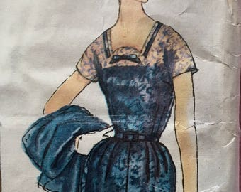 50s Dress Pattern Simplicity 2420 Slenderette Dress and Jacket Bust 36 Size 16