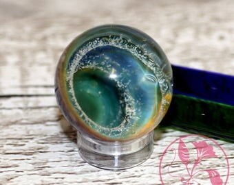 Collectable Art Glass Handmade Borosilicate and Dichroic Space Marble