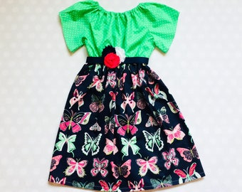 Green and Navy Butterfly Dress - Easter Dress - Girls Spring Dress - Girls Dress - Baby Girl Dress - Girls Dresses - Butterfly Dress