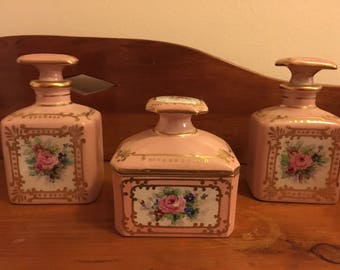 Limoges hand painted porcelain set of three dresser set pices