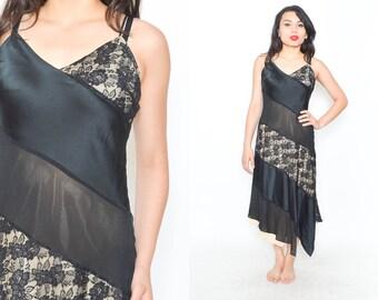 SILK SLIP DRESS. 90's Black Maxi Dress. Vintage Spaghetti Straps. Contrasting Lace. Asymmetric Hem. Mod Minimalist Grunge. Size Small Medium