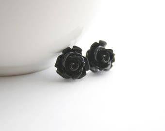 Black Rosette Earrings with Stainless Steel Posts