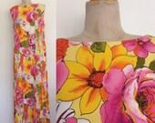 1970's Yellow Floral Barkcloth Hawaiian Maxi Dress Size Large XL by Maeberry Vintage